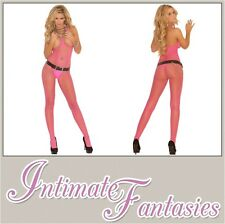 Sexy Pink Bodystocking Crotchless Fishnet Open Crotch Cupless Size 8 10 12 14 16