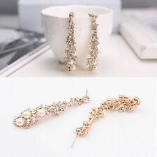 Elegant Chic Women Lady's Pearl Rhinestone Dangle Chandelier Earrings Jewelry