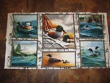 PRIDE OF THE LAKE Vintage BIRDS ANIMAL BLOCKS 1990's Fabric PANEL