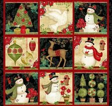 Winter Bliss Schneemann Rentier Panel Patchwork Stoff Weihnachten Patchworkstoff