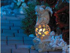 Engelsfigur mit Solar-LED-Beleuchtung,Garten,Terrasse,Deko,Stein-Optik