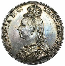 1889 CROWN - VICTORIA BRITISH SILVER COIN - V NICE