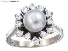"""Ring """"Perle und Brillanten"""" Weißgold ca. 1965"""