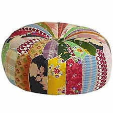 Indian Vintage Kantha Patch work Moroccan Pouf ottoman Size 24 x 8 inches