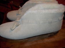 Vermont Country Store Sheepskin Booties slippers SHOES hard sole SZ 8