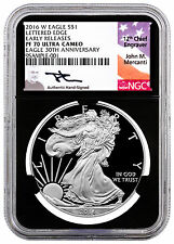 2016-W Proof American Silver Eagle NGC PF70 UC ER (Mercanti / Black) SKU43156