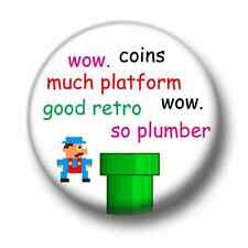 Retro Platformer 1 Inch / 25mm Pin Button Badge Wow So Retro Video Game Doge Fun