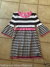 Arizona Large 14-16 Striped Sweater Dress Tunic Pink, Black & White Long Sleeve
