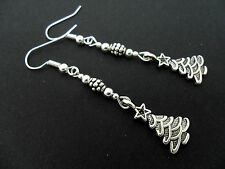 A PAIR OF  TIBETAN SILVER DANGLY CHRISTMAS TREE EARRINGS. NEW.