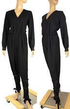 YVES SAINT LAURENT JUMPSUIT DRESS 'EDITION 24 ' BLACK WOOL sz F42