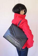 Designer Inspired Isaac Mizrahi Black Leather Structured Satchel Shoulderbag