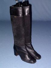 Feine Etienne Aigner Stiefel Boots Wildleder Voll-Leder schwarz Blockabsatz 38