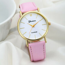 Geneva Women WATCHES Stylish Design Leather Band Analog Quartz BLACK Watch DZ050