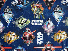 "22"" REMNANT  STAR WARS COTTON FABRIC PRINCESS LEIA VADER YODA HAN SOLO BOBA FETT"