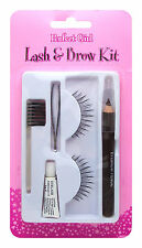 PERFECT GIRL FALSE STRIP EYELASHES EYELASH LASH & BROW KIT PENCIL TWEEZER GLUE