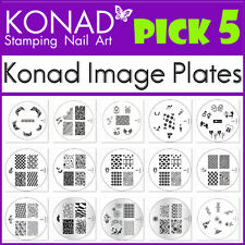 PICK 5 Konad Image Plate of Your Choice - for Stamping Nail art Designs