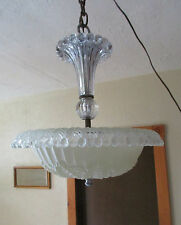 Vintage 1940s Art Deco Chandelier Frosted Satin Glass Shade Clear Ceiling Light