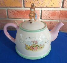 "2002 Beatrix Potter Tea Pot Peter Rabbit Finial on Lid by Teleflora 8"" Tall"