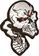 Iron On/ Sew On Embroidered Patch Badge Skull and Smoking Gun Skeleton Head