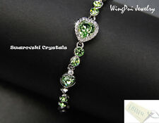 Stunning 2017 Made with Swarovski Heart Peridot Crystal 18K Gold Plated Bracelet