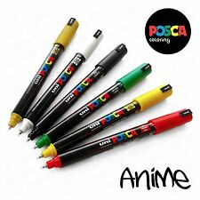 POSCA pc-1mr ANIME Set - 6 Penne in plastica Wallet-Rosso, Giallo, Verde, Nero, W