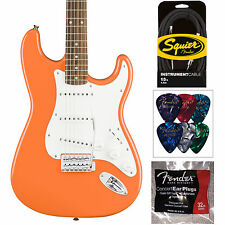 Squier Affinity Series Competition Orange Stratocaster - Cable Picks & Ear Plugs