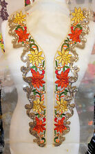 gold multi sequin bridal wedding embroidery lace applique abaya kameeze asian