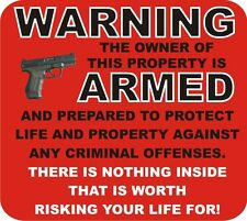2nd Amendment Warning Armed decal sticker house alarm sign stocking stuffer