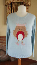 LIGHT BLUE ROBIN CHRISTMAS LADIES JUMPER SIZE 20 DOROTHY PERKINS  BNWT
