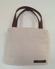 Vintage Cross Body Tote Ivory Canvas Leather Straps Nine West Lined