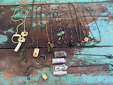 Antique lot 16 Pocket Watch Chains some with FOB Charms Sterling SIlver Plate GF