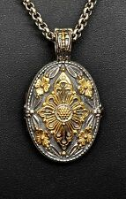 Konstantino Oval Locket Pendant Necklace Sterling 18K Gold LOVE IS A DRUG New!