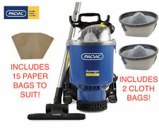 Pacvac Superpro 700 Commercial Backpack Vacuum Cleaner-2 Cloth and 15 paper bags