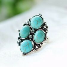 Chic Cocktail Ring Vintage Statement Turquoise Stone Tibet Silver Jewelry