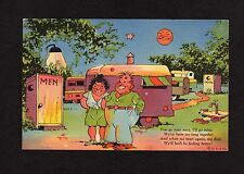 Comic Postcard couple going to his/hers outhouses poem about feeling better