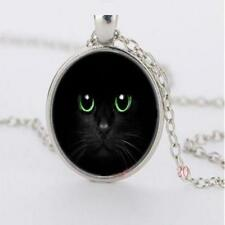 Fashion Jewellery Women's Cute Black Cat Green Eyes Cabochon Silver Necklace