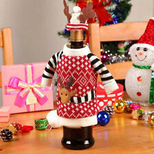 New Cute Christmas Knitted Reindeer Sweater Hat Red Wine Bottle Cover Wrap Decor