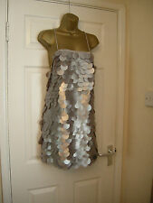 10 THE 8TH SIGN SILVER ALL OVER LARGE SEQUIN MINI DRESS BACKLESS COST £150 XMAS
