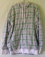 Ecko Unlimited XL Full Zipper Reversible Hoodie Green White Plaid Solid White