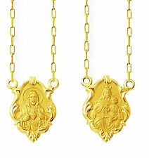 18k Gold Scapular Lady of Carmel with heart of Jesus perfect images Small Medal