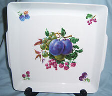 Naaman Israel Fine Porcelain Square Fruit Tray Plums Raspberries Grapes