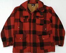 Vintage Woolrich Red Plaid Mackinaw Wool Mens Hunting Jacket Coat Sz 42 Large
