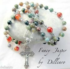 ✫FANCY JASPER✫ BEAUTIFUL HANDCRAFTED GEMSTONE ROSARY ( Boxed)