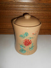 Vintage USA Stoneware Tan Cookie Jar with Rose and Leaf Decoration