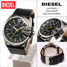 Diesel Master Chief Men's Quartz Watch Black Leather Bracelet Dz1295.