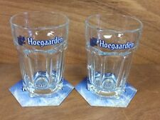 Hoegaarden Beer Glass - Set of 2 ~ 25cl. Glasses & 12 Hoegaarden Coasters ~ NEW