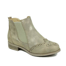 WOMENS LADIES CASUAL LOW BLOCK HEEL CHELSEA BROGUES ANKLE BOOTS SHOES SIZE 3-8