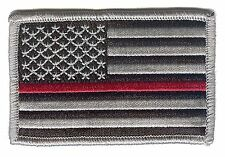 "United States US flag 3""x2"" black/grey stars left RED line redline fire patch"