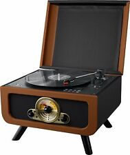 Steepletone RICO Retro Turntable VINYL Record CD Player Radio Black/Brown