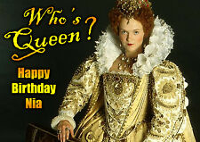 Blackadder Miranda Richardson Birthday PERSONALISED ART Card Queenie WHO'S QUEEN